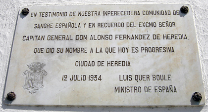 Placa en Honor al Gral Don Alonzo Fernandez de Heredia